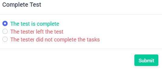 complete user test
