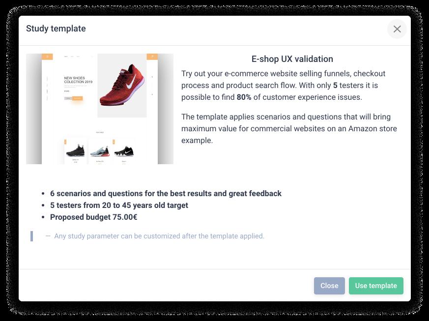 user testing templates